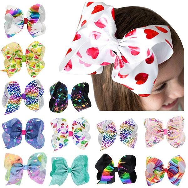 8 Inch Baby Girl Hair Bows Barrettes Rainbow Love Heart Hair Clips Big Bowknot Ribbon Hair Accessories 13 Colors