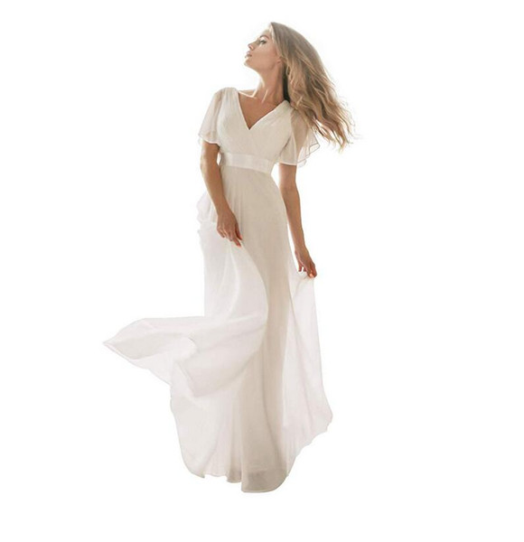 Elegant V Neck Long Wedding Dresses 2019 Simple White Ivory Dress with Short Sleeves Ribbon Belt Chiffon Floor Length Maxi Bridal Gowns