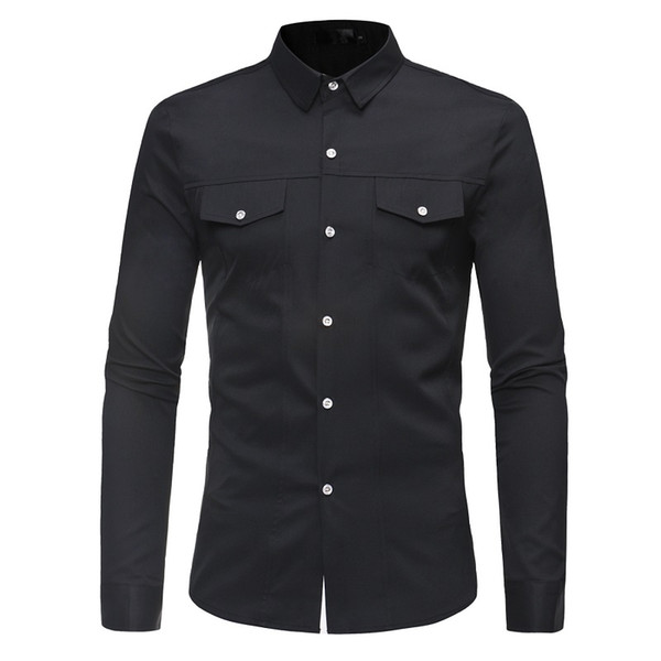Mens Shirts Casual Slim Fit Formal Shirts Long Sleeve Solid Color with Pockets Male Clothing Clothes High Quality S M L XL