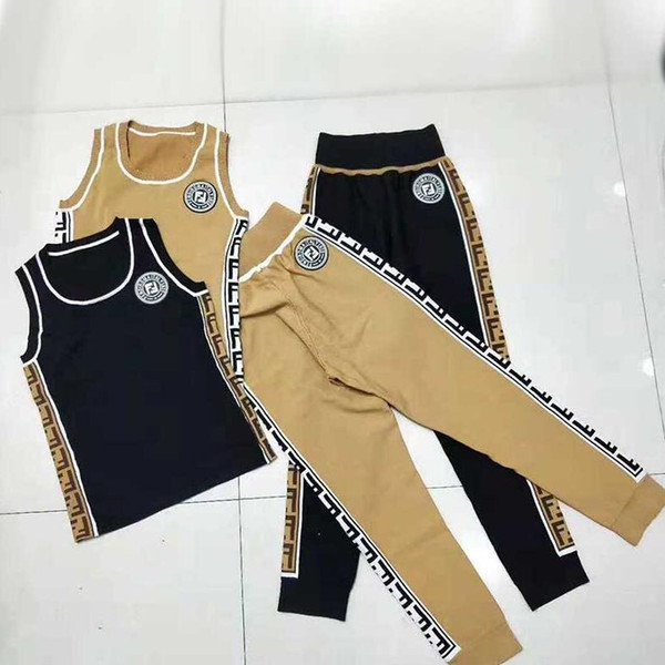Spring and Summer Female Dress FD Knitted vest Suit Sleeveless Round-necked Ice Silk Top + Loose Waist Trousers Two-piece Suit