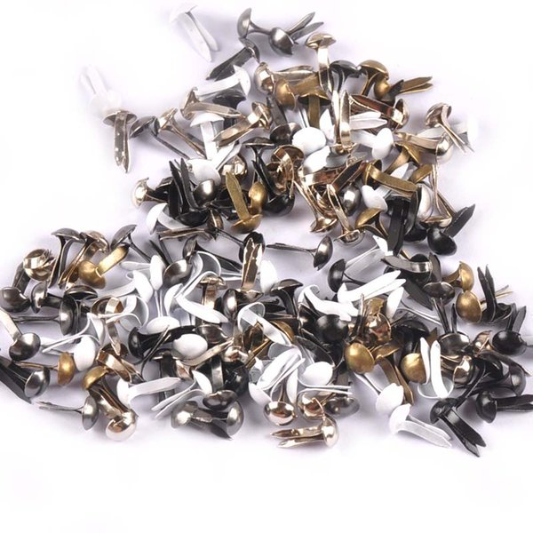 100Pcs 5X10mm Mix 6 Colors Round Metal Brads Scrapbooking Accessories Crafts Embellishments Fastener For Shoes Decoration free shipping