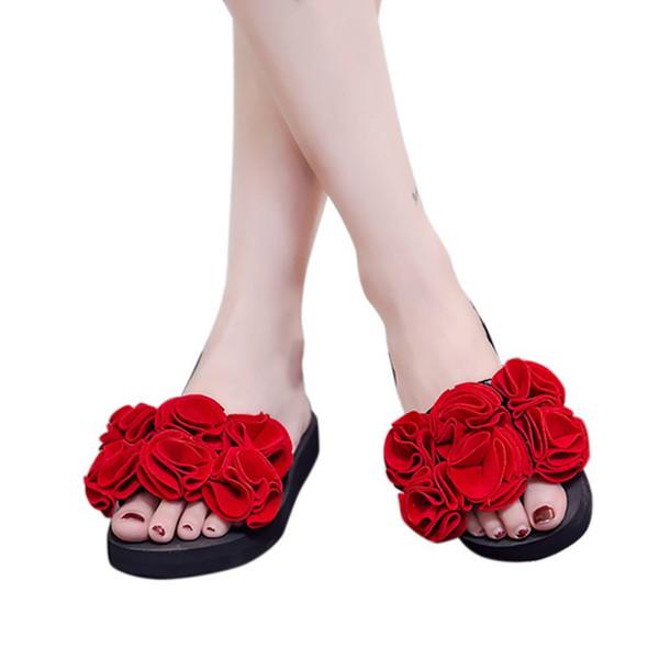 Новые модные женские цветы ручной работы нескользкие сплошной цвет обуви женщина пляжные вьетнамки с плоским дном наклонные тапочки zapatos de mujer