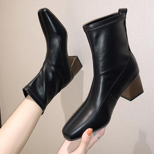 round toe lady boots rock shoes woman mid-calf booties women low heels booties luxury designer lace up winter footwear ladies hi