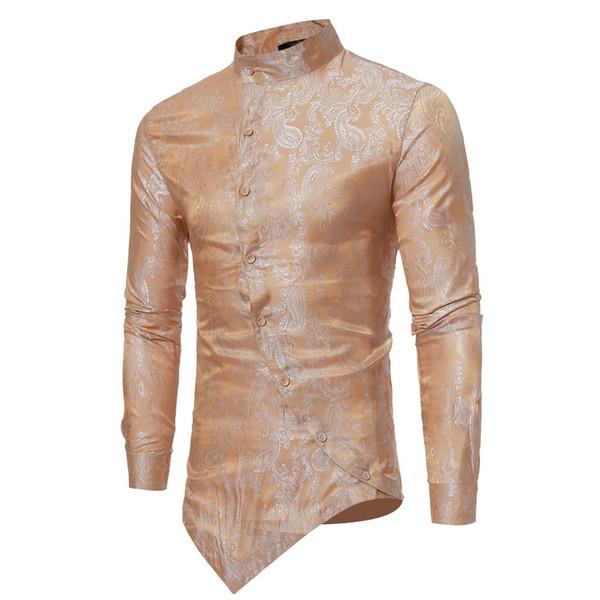 men shirt Blouse tee top Floral Print Button long sleeve shirt men shirts Vintage Casual mens clothes camisa masculina