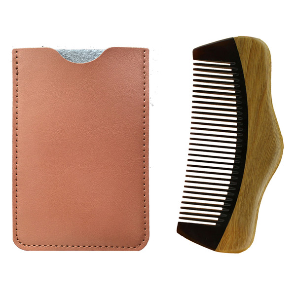 Wooden Beard Comb &Leather Case Handmade Hill Shape ,Perfect For Use With Balms And Oils ,Green Sandalwood Comb For Beards &Mustaches
