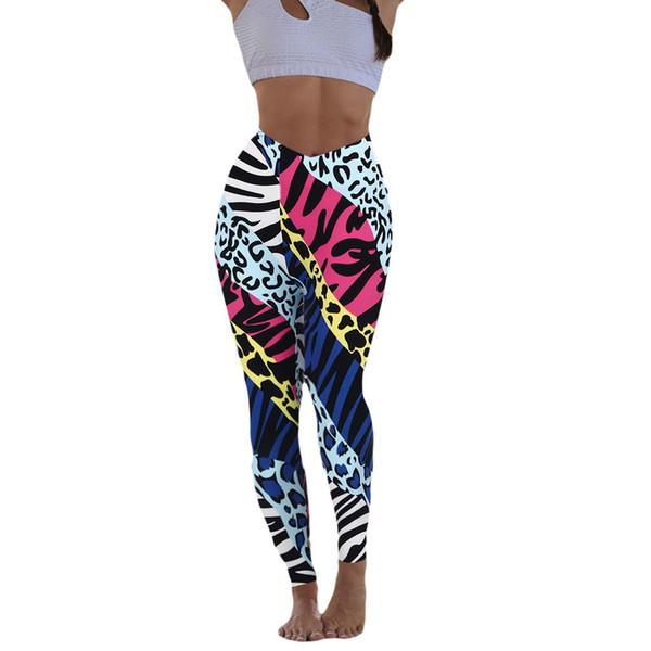 Winter 2019 Hot SaleFashion Women's Multicolor print Hip Tightness Exercise Soft Elegant Slim Fit Body Running Yoga Pants