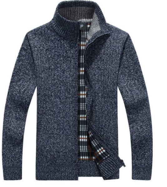Mens Cardigans Knitwear Zipper Sweaters Warm Fleece Hoodie Solid Color Sweatshirt Hoodies for Autumn Winter Asian Size M-3XL