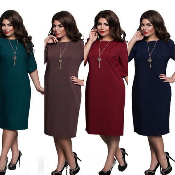 3XL 4XL 5XL 6XL Talla grande Vintage Elegante Cuello redondo Breve Color puro Pin Up Vestidos Oficina Business Party Mujeres Vestido ajustado 0022