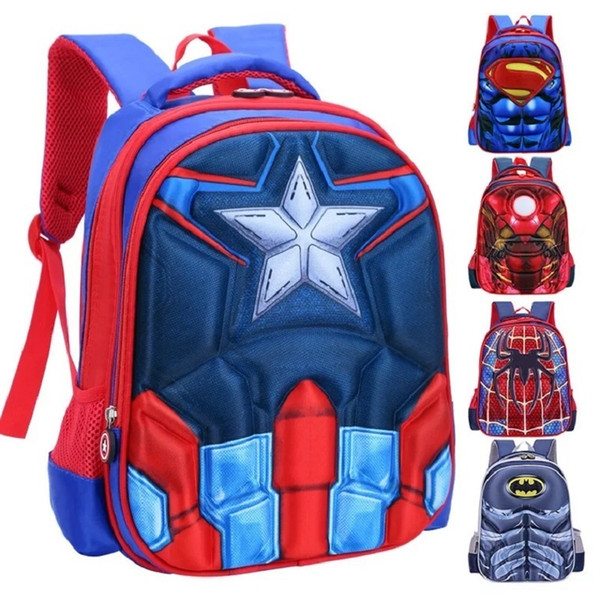 Children 3d School Bag Captain America Backpack For Boys And Girls Cartoon Baby Superhero Shoulder Bag Kid Backpacks Bag Mochila J190427