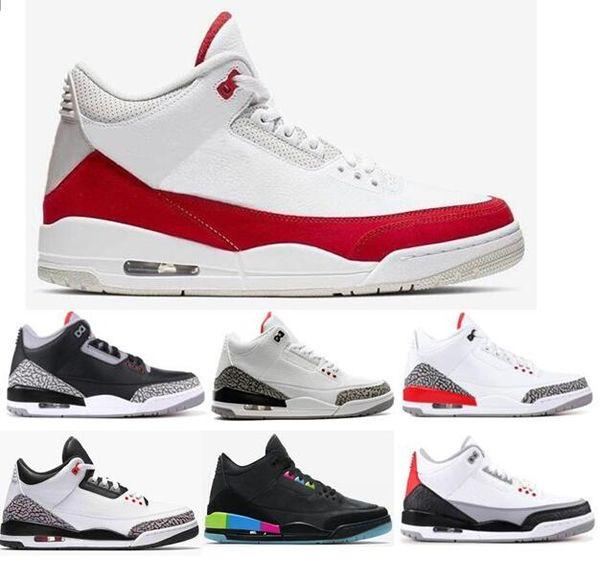 Nuevo  Air Jordan 3 Tinker Blanco Universidad Zapatos de baloncesto rojos Hombres Infrarrojo 23 Cemento blanco Cemento negro Quai 54 Zapatillas de deporte de alta calidad con caja