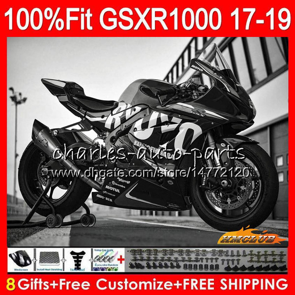 Injection OEM noir brillant pour SUZUKI GSX R1000 GSXR1000 GSXR 1000 17 18 19 17HC.41 L7 L8 GSXR1000 K17 GSXR1000 2017 2018 2019 kit Carénage