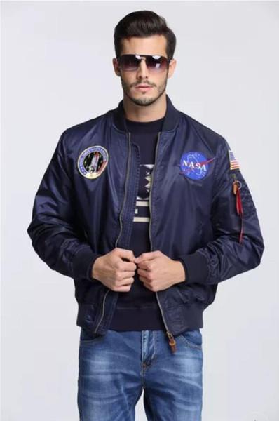 2019 Men Bomber Flight Pilot Jacket Coat Thin Nasa Navy Flying Jacket Military Air Force Embroidery Uniform Army Green Black