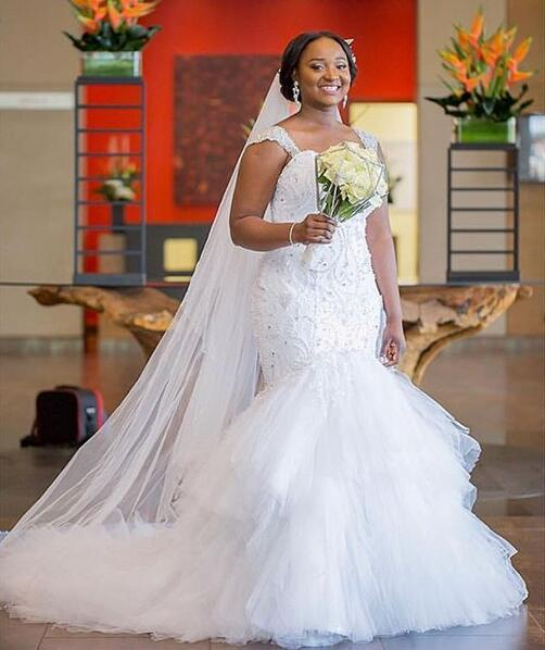 2019 new African Nigerian Styles Plus Size Mermaid Wedding Dresses Bridal Gowns Beaded crystal Cascading Ruffles Long Sweep Train