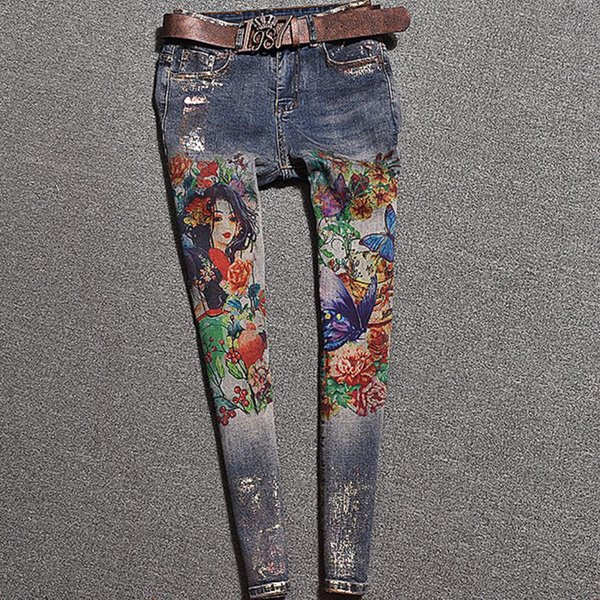 plus la taille 25-32 2019 printemps automne nouvelle mode peint jeans femmes graffiti impression personnalité élastique jeans skinny