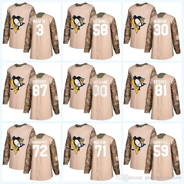 58 Kris Letang Pittsburgh Camo Veterans Day 87 Sidney Crosby 71 Evgeni Malkin 72 Patric Hornqvist 59 Jake Guentzel Jersey
