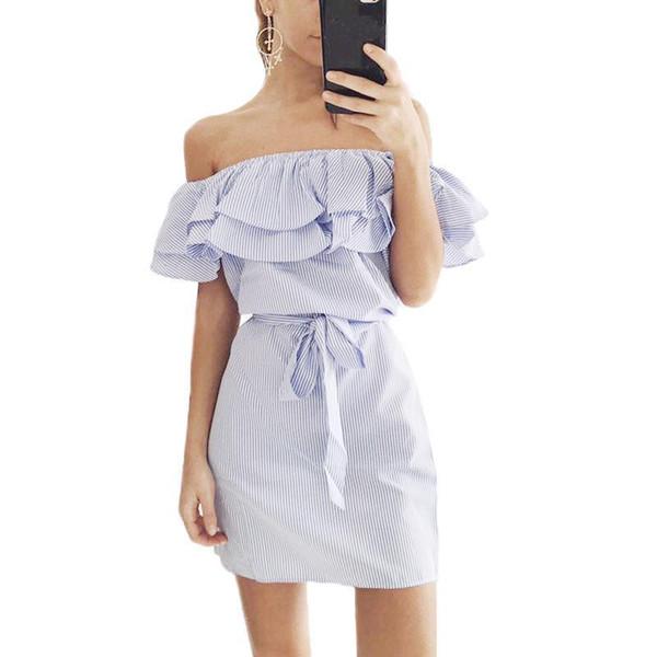 2019 donne estate a righe mini abito femminile volant carino sexy slash  collo vestito per le b98dd156042