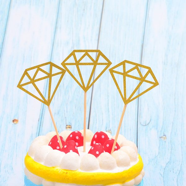 Diamond Cupcake Toppers Wedding Cake Topper Decor Ceremonia Fiesta de cumpleaños Fuente de cumpleaños Glitter Cupcake Toppers por mayor