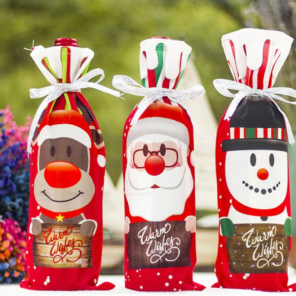 AU Table Decor Dinner Party Red Wine Christmas Santa Tree Bottle Cover Bags Sets Bottle Decor for New Year Xmas Dinner Party