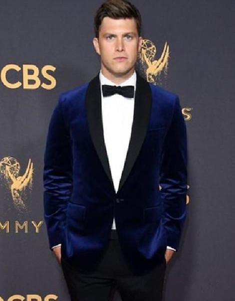 New Stylish Design Groom Tuxedos One Button Blue Velvet Shawl Lapel Groomsmen Best Man Suit Mens Wedding Suits (Jacket+Pants+Tie) 955