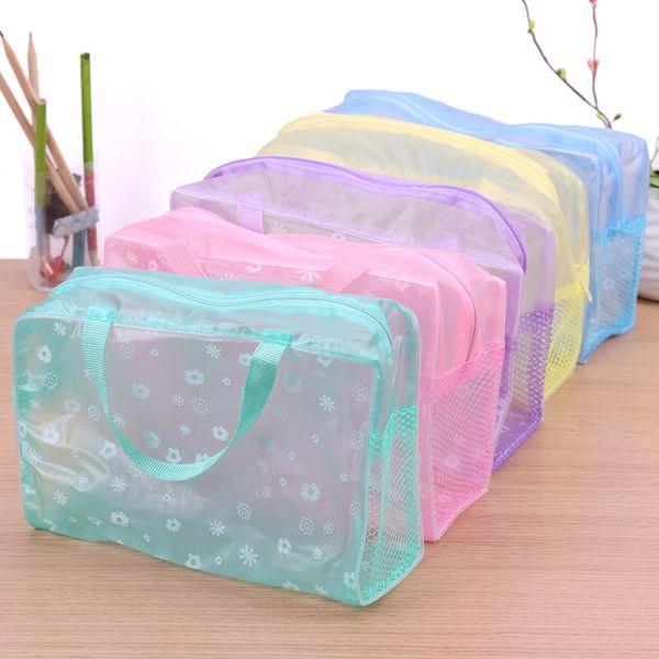5 Colors Make Up Organizer Bag Toiletry Bathing Storage Bag Women Waterproof Transparent Floral PVC Travel Cosmetic