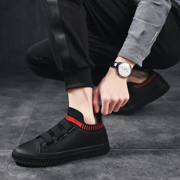 2019 nouvelles chaussures pour hommes de printemps, chaussures de haute qualité en cuir, chaussettes, pantoufles