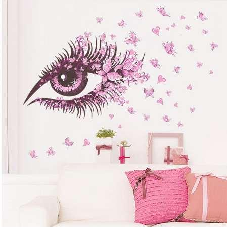 Wall Decal Charming Fairy Girl Eye Wall Sticker For Kids Room Flower butterfly heart Bedroom Sofa Decoration Wall Art D30M25