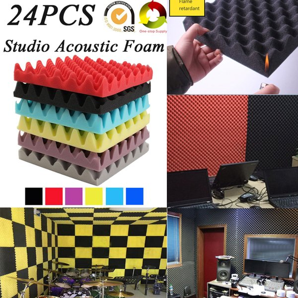 best selling (24Pack) EGGCRATE Studio Recording Room Sound Treatment Acoustic Foam Soundproof Panels Sound Insulation Absorption Tiles Fireproof 25x5cm