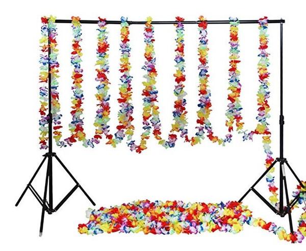 Tropical Hawaiian Fleur Guirlande Luau Partie Décoration De Mariage Anniversaire Halloween Noël Bannières Longues fond décor 200cm-3000cm