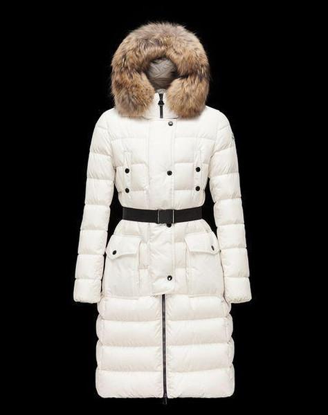 Женская пуховая куртка Новые товары Женская женская пуховик средней длины 100% натуральный мех волка пуховик длинный участок