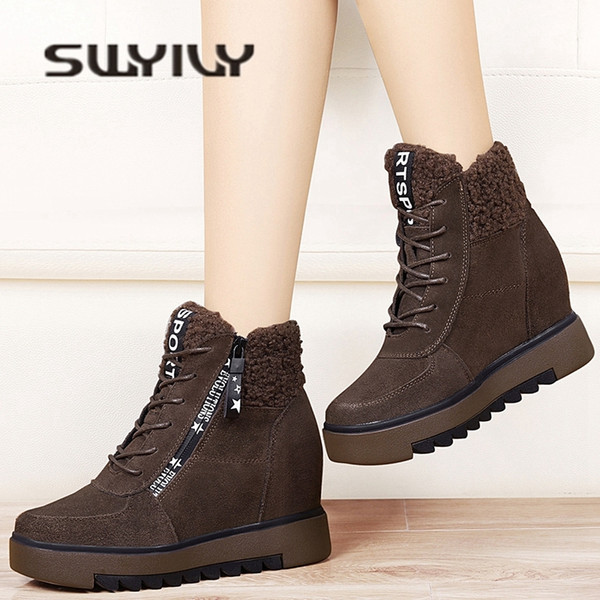 Botas de mujer Plataforma Invierno Cálido Nieve Cuña Botas de nieve de cuero genuino Zipper Botines Zapatos de invierno