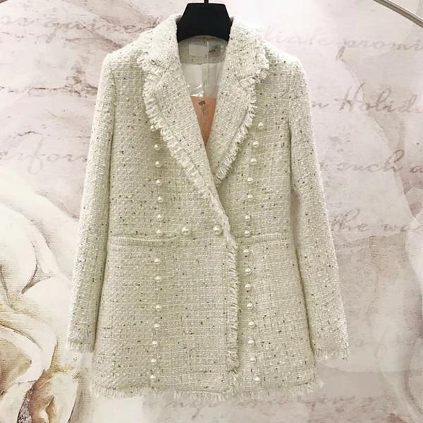 2019 Inverno Pérolas De Luxo Beading Mulher Blazer Casacos Elegante V Pescoço Senhora Escritório Magro Casaco De Lã de Alta Qualidade Sobretudo Vestuário