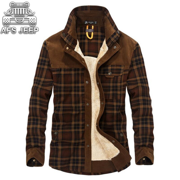 Winter Snow Warm Men Shirts Thick Lined Plaid Plus Size Brand Afs Jeep 100 %Cotton 2018 New Windbreaker Casual Male Blouses