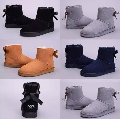 2017 winter Australia Classic snow Boots High Quality WGG tall boots leather Bailey Bowknot women's bailey bow Knee Boots shoes