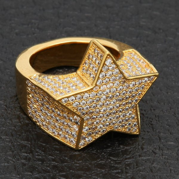 Ustore8 Men's Fashion Copper Gold Silver Color Plated Exaggerate Ring High Quality Iced Out Cz Stone Star Shape Ring Jewelry