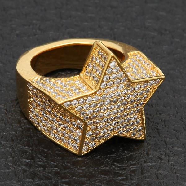 Ustore8 erkek Moda Bakır Altın Gümüş Renk Kaplama Abartmak Yüzük Yüksek Kalite Buzlu Out Cz Taş Yıldız Şekli Yüzük takı