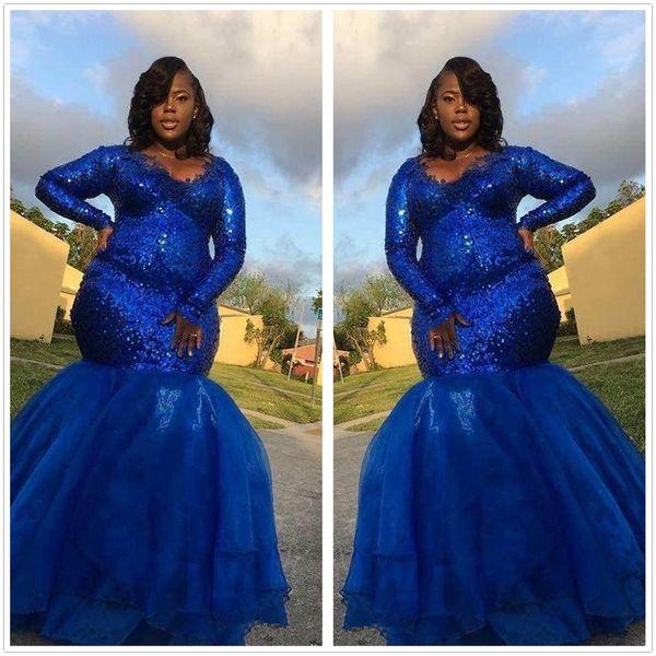 94382d0d1c0 Royal Blue Lace Mermaid Plus Size Prom Dresses 2019 V Neck Long Sleeves  Organza Layered Ruffles