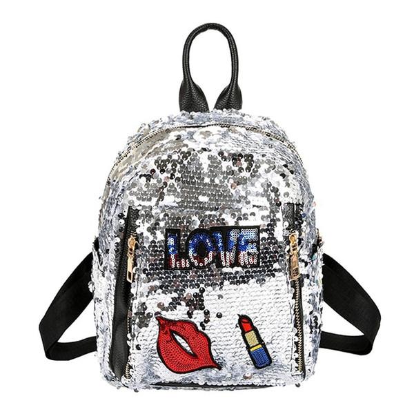 2018 Sequins Backpacks For Teenager Girls Pu Mochila Shine Backpack Female Glitter Large Girls Travel Shoulder Bags School Bag Y19051405