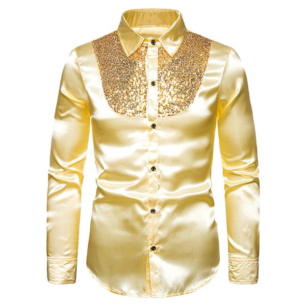 MoneRffi Sequin Silk Satin Shirt Men Wedding Groom Dress Shirts Mens Nightclub Disco Dance Party Prom Custyme Chemise Homme