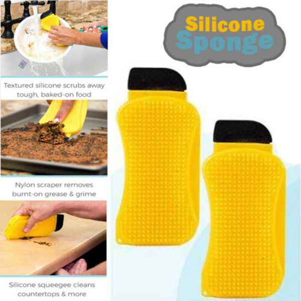 Magic 3 In 1 Silicone Sponge Clean Brush Hero Dish Washing Eco-Friendly Scrubber Cleaning For Multipurpose Kitchen Tool ZZA256