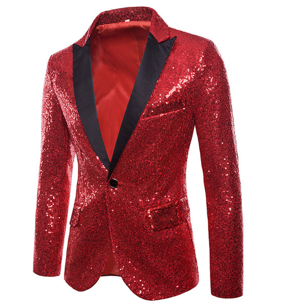 Fashion Suit Men Casual Sequins Blazer Long Sleeve Wedding Dress Blazers Solid Red Black Size S-2XL