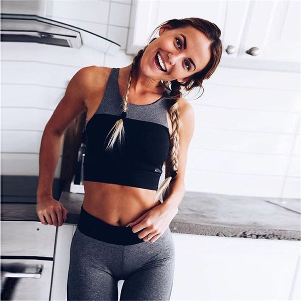 Sexy Patchwork Women Yoga Set Breathable Gym Clothing Running Sport Wear Two Pieces Jogging Sport Suit Women Yoga Clothes 2019