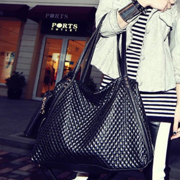 женская сумка женская дизайнерская сумка Винтажная сумка плед шаблон сумки досуг простой Посланник черный известные бренды-45 #151410