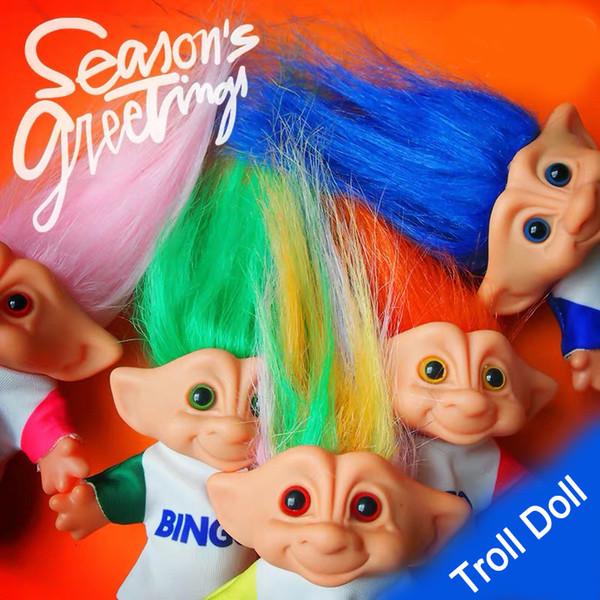 Muñeca de trolls indios Ugly-Vintage 10 cm troll doll DIY impresión a doble cara vestido pvc troll doll colección de decoración del partido