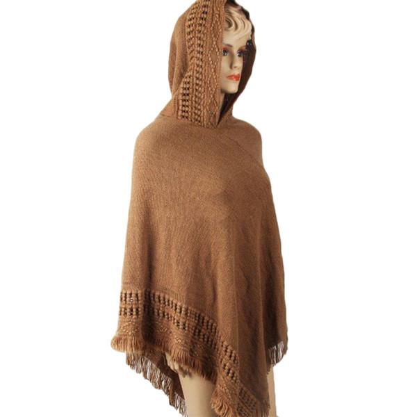 Женщины вязаная шаль кисточкой свитер негабаритных Мыс Зима Осень с капюшоном свободные свитера пуловер нерегулярность плащ топы 4 Цвет
