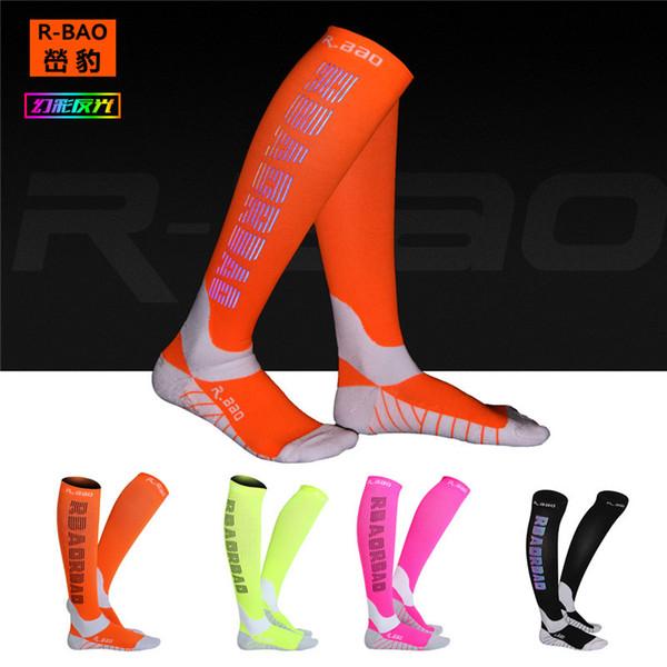 1 par libre Pro Ejecución de la función Comprimir reflectante Calcetines Noche Deportes Ciclismo Running campaña de la alta calidad hasta la rodilla calcetines altos