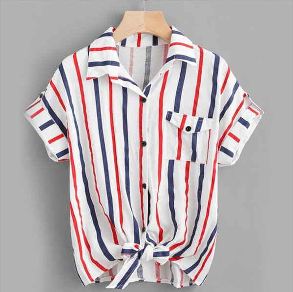 New Summer Women's Explosion Casual Fashion Single Breasted Color Stripe Short Sleeve Lapel Shirt Top White S-XL