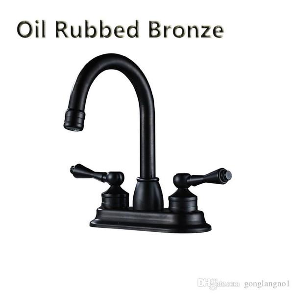 Rubinetto del bacino Finitura bronzo lucidato a olio Doppio foro maniglia Lavaggio bagno Rubinetto miscelatore montato sul ponte