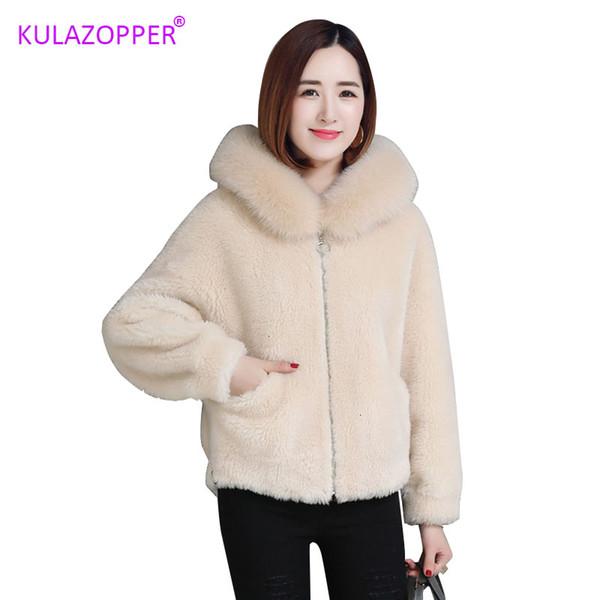 Hot Brand Faux manteau de fourrure dames courtes 2019 New hiver en vrac grand col de fourrure à capuchon d'agneau en peluche Veste femme CASACO Feminino ZH124 SH190930