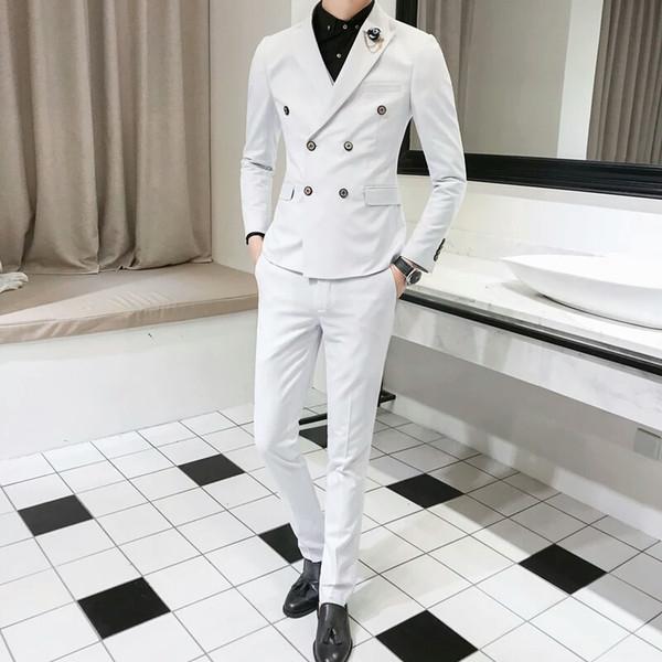 Latest White Men Suits Royal Blue Groom Wedding Tuxedos Peaked Lapel Slim Fit Man Blazer 2Piece Coat Pants Black Costume Homme Prom Party