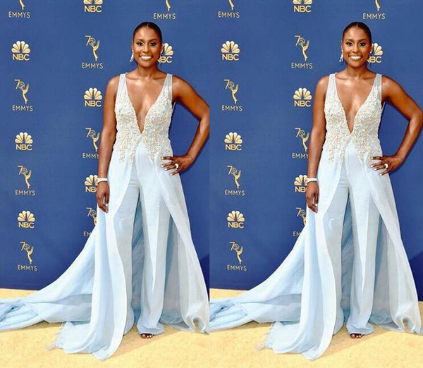 2019 sheath chiffon jumpsuit Evening Dresses sexy v neck sweep train with lace applique Formal Evening Party light sky blue Red Carpet Dress